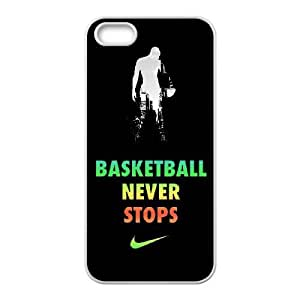 Unique Design Cases iPhone 5, 5S Cell Phone Case Basketball Never Stops Kzfdo Printed Cover Protector