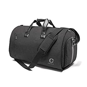 Crospack 2019 UPGRADE 22 inch Garment Bag Suit Travel Bag with Shoulder Strap 2 in 1 Hanging Suit Travel Bags for Men Duffle Garment Bags Carry on Suit Carrier Travel Bag Foldable Flight Bag
