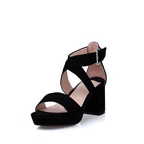 AmoonyFashion Womens Buckle Open Toe Kitten Heels Blend Materials Solid Sandals Black mrz6tylYYP