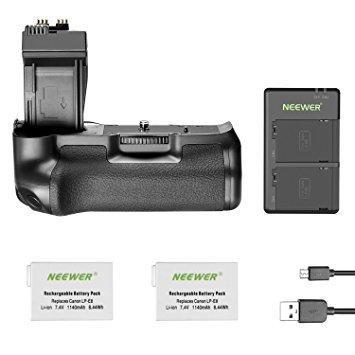 (Neewer BG-E8 Replacement Battery Grip for Canon EOS 550D 600D 650D 700D Rebel T2i T3i T4i T5i DSLR Cameras, Comes with 2-Pack 1140 mAh LP-E8 Replacement Li-ion Battery and Dual Battery Charger )