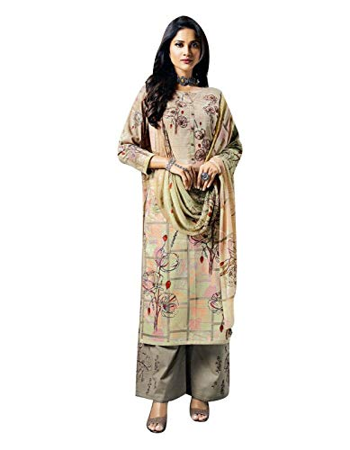 - Ladyline Salwar Kameez Cotton Handwork Embroidered Printed with Palazzo Pants Embroidery Salwar Suit (Size_34/ Beige)