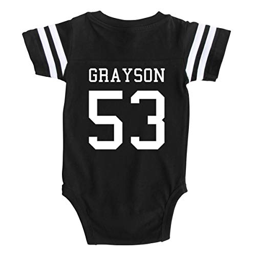 Custom Football Sport Jersey Baby Bodysuit Personalized with Name and Number (Newborn, Black)