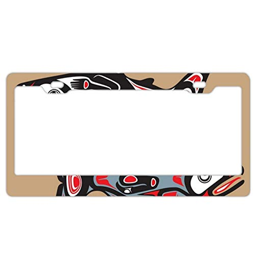 YEX Abstract Native American Fish License Plate Frame Car Tag Frame Auto License Plate Holder 12