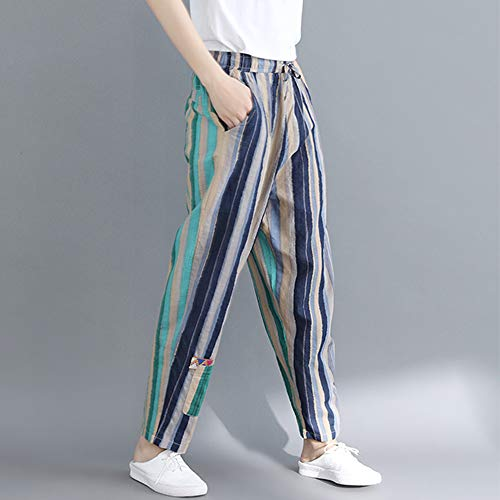Xl Pantalone Blu Pantaloni Larghi Dragon868 Donna L Elastica Strisce Vita Verde RgBvdTnqw