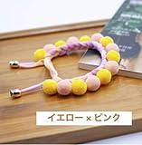 MUSUBI手作りの可愛いボンボン付き 猫用首輪 約22〜27cm (イエロー×ピンク)