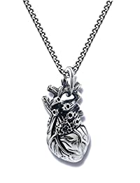 Anatomical 3d Human Heart Antique Silver Tone Necklace Solid Stainless Steel No Tarnish, No Color Change