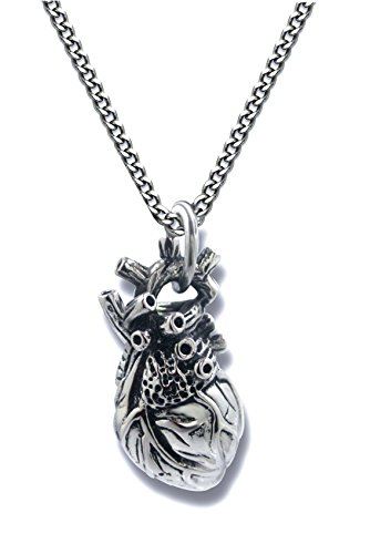 Pearlina Anatomical Heart Necklace Man or Woman 3D Pendant Oxidized Antique-Finish Stainless Steel, 24