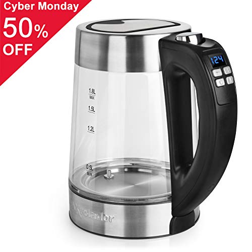 Electric Kettle (BPA Free) - Fast Boiling Temperature Control Kettle (1.8L) Cordless,1200W Hot Water Kettle – Glass Tea Kettle, Tea Pot – Hot Water Dispenser