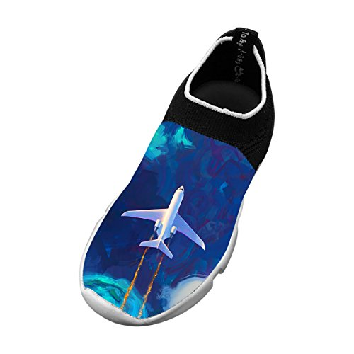 New Trendy Flywire Weaving Running Shoe 3d Custome With Planes Clouds For Unisex Kids Picture