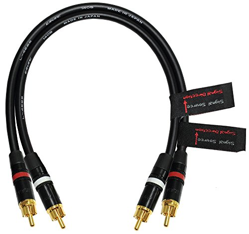 1 Foot RCA Cable Pair - Made with Canare L-4E6S, Star Quad, Audio Interconnect Cable and Neutrik-Rean NYS Gold RCA Connectors - Directional Design - CUSTOM MADE By WORLDS BEST CABLES by WORLDS BEST CABLES