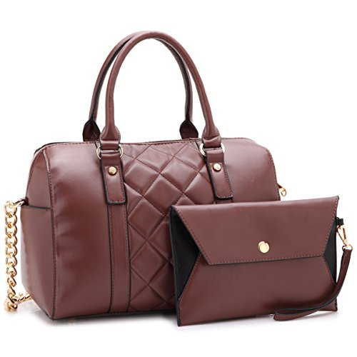 Dasein Women Soft Vegan Leather Barrel Bags Large Top Handle Totes Satchel Handbags Shoulder Purse W/Wallet Coffee ()