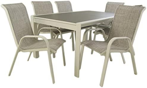 Edenjardi Conjunto Para Terraza Mesa Extensible 160 210 Y 6 Sillones Apilables Aluminio Reforzado Blanco Textilene Taupé Jaspeado 6 Plazas