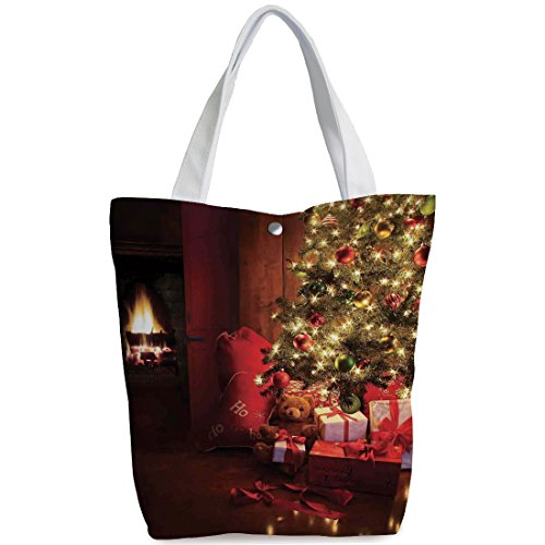 iPrint Canvas Shopping bag,shoulder handbags,Shoulder Bag,Christmas,Xmas Scene with Decorated Luminous Tree and Gifts by the Fireplace Artful Image,Red Yellow,Unique Durable Canvas Tote Bag by iPrint