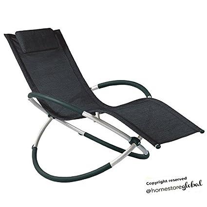 HomeStore Global, cadeau de vacances, chaise longue, transat de jardin  Rocking Chair avec coussin amovible. Très confortable et relaxante - Noir