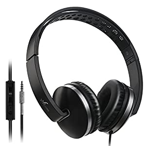 Foldable Headphones with Microphone, Vive Comb Stereo Lightweight Adjustable PC Headset Wired Headphones with Volume Control for Tablet, Smartphones, Video Game, Laptop-Black