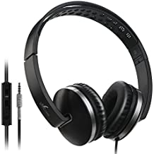 On Ear Headphones, Vive Comb Foldable Headphones with Microphone Lightweight Stereo Adjustable PC Headset Wired Headphones with Volume Control for Tablet, Smartphones, Laptop-Black