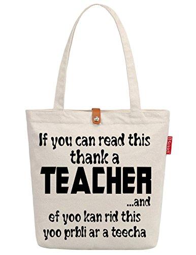 So'each Women's Thank A Teacher Letters Graphic Handbag Canvas Tote Shopping Bag