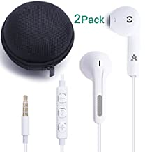 JJCall Premium Iphone Earphones/Headphones/Earbuds with Stereo Mic&Remote Control for Apple iPhone 6s/6/6plus,iPhone SE/5s/5c/5, iPad /iPod and More (2 Pack White)
