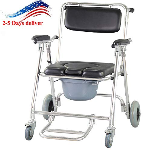 zinnor Mobile Commode Chair Toilet Chair Bathing Shower Mobility Disability Aid with 4 Brakes Wheels Footrests Wheelchair Toilet Toilet Shower Seat USA Shipping ()