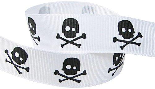 Love Printed Grosgrain Ribbon (HipGirl Printed Grosgrain Skull Ribbon, 5-Yard 7/8-Inch, White/Black)