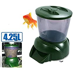 VJUKUBWINE 4.25L LCD Display Automatic Fish Feeder with Clock Display Olive Green
