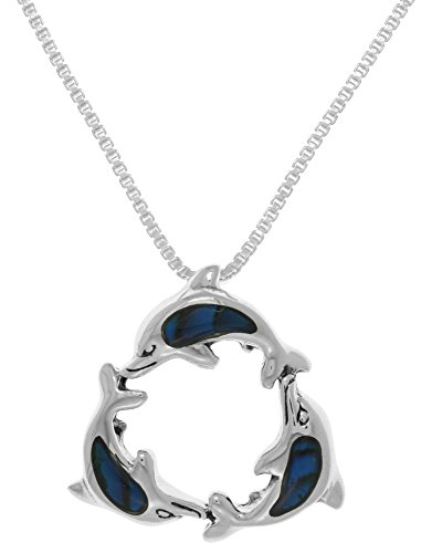 Dolphin Paua Shell - Jewelry Trends Sterling Silver Paua Shell Trinity Dolphins Pendant on 22 Inch Box Chain Necklace