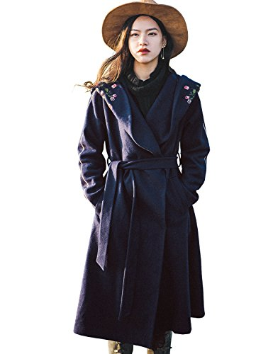 Artka Women's Embroidered Vintage Long Trench Coat With Hooded and Belt Wool Coats Size M