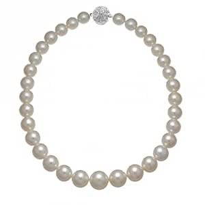 Bling Jewelry Graduated White Created Pearl Rhodium Plated Bridal Necklace 16 Inches