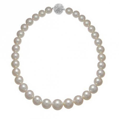 Bling Jewelry Bridal White Shell Graduated Imitation Pearl Strand Necklace Rhodium Plated Crystal Ball Clasp 16 Inch 10-14MM