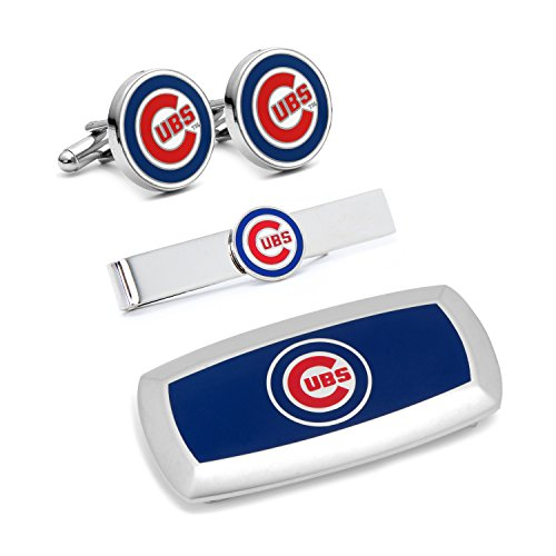 Cufflinks Inc Metal Mens Jewelry Sets Chicago Cubs 3-Piece Cushion Gift Set Silver Model # - Silver Cufflinks Chicago Cubs