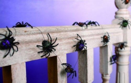 Halloween Spider Glitter Garland - 5 Feet (Spider Garland)