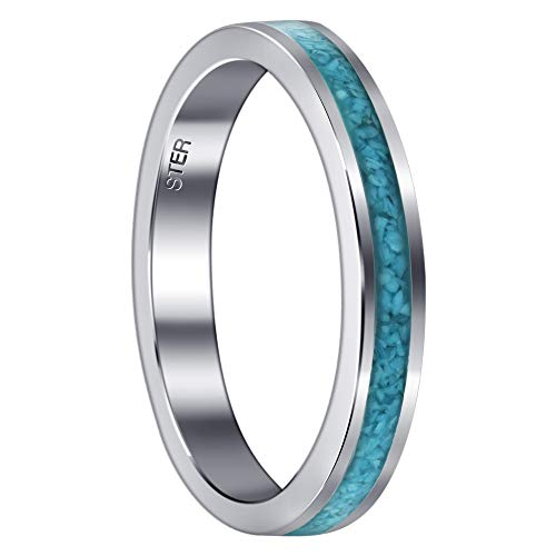 Unisex 925 Sterling Silver Turquoise Chip Inlay 4 mm Band Size 10