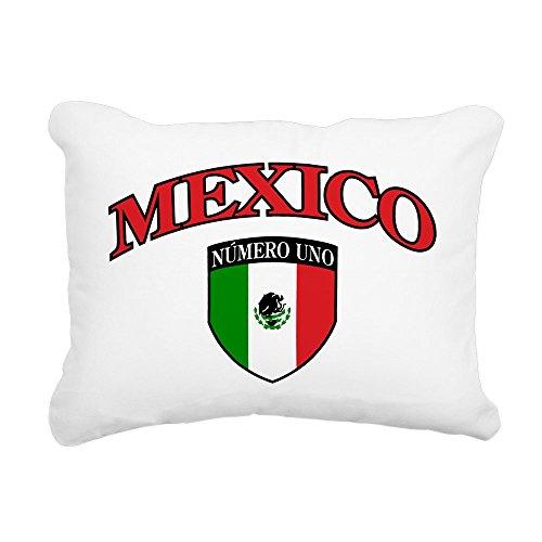 Rectangular Canvas Throw Pillow Natural Mexico Numero Uno Mexican Flag by Royal Lion