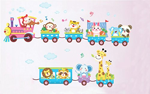 (Lovely Zoo Train Wall Sticker Monkey and Its Friends Sitting on Train Nursery Wall)