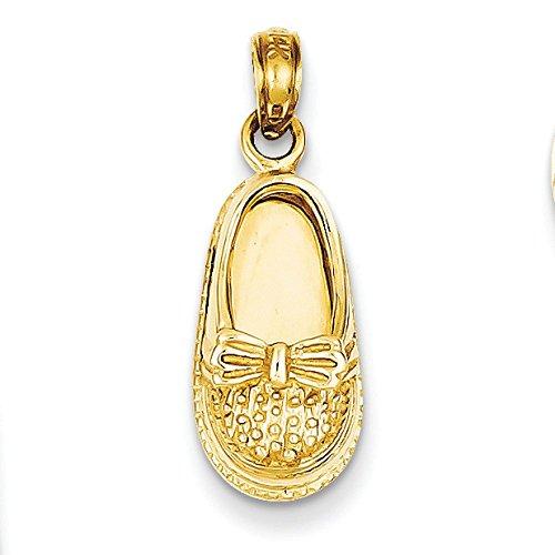 3-D 14 carats avec pendentif en forme de chaussure de bébé Papillon-Dimensions :  23,8 JewelryWeb x 8,6 mm -