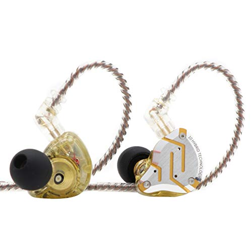KZ ZS10 Pro, Linsoul 4BA+1DD 5 Driver in-Ear HiFi Metal Earphones with Stainless Steel Faceplate, 2 Pin Detachable Cable (with Mic, Glare Yellow)