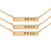 U-Beauty Silver Plated Big Middle Little Sister Lettering Pendant Necklace Set