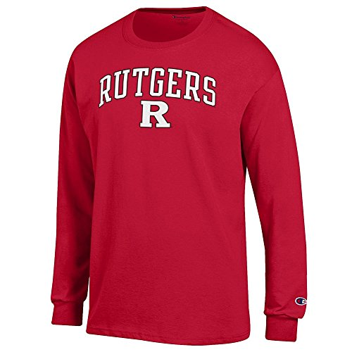 (Elite Fan Rutgers Scarlet Knights Men's Long Sleeve Arch Tee Shirt, Red, X Large )