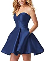 Strapless Homecoming Dresses Short Open Back Sweetheart Satin A-Line Prom Dress