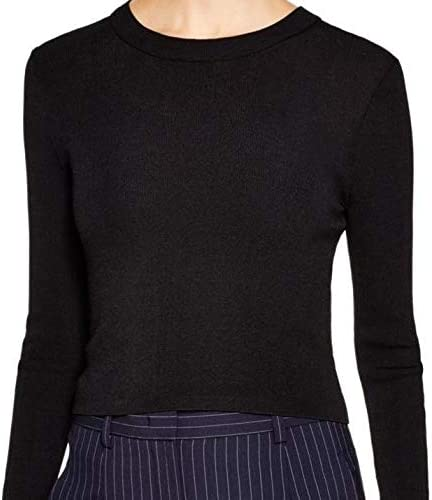 DKNY Couture Womens Black Crewneck Stretch Rayon Blend Sweater TOP Shirt SZ L New Tags