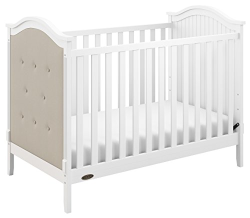 Graco Linden Upholstered 3-in-1 Convertible Crib, White/Sand Easily Converts to Toddler Bed & Day Bed, 3-Position Adjustable Height Mattress ()