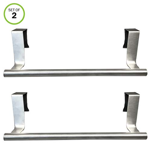 (Evelots Towel Bars-Kitchen-Bathroom-in or Out Cabinet Door-Stainless -Set of 2 )