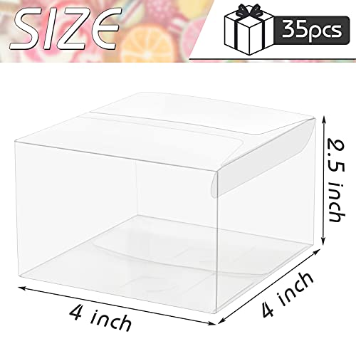 VGoodall Clear Favor Boxes, 35 pcs Plastic Gift Boxes Transparent Cube Boxes PET Boxes for Wedding, Party, Baby Shower, Bridal Shower