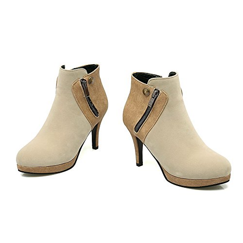 AllhqFashion Womens Round Closed Toe Ankle-high High Heels Solid Imitated Suede Boots Beige RPUUgqUI