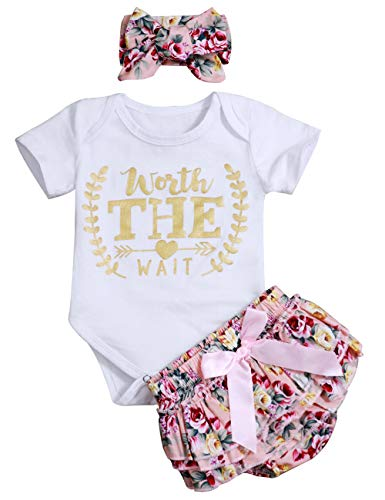 Newborn Baby Girl Summer Clothes Letters Print Romper + Ruffle Floral Shorts Bow-Knot Bodysuit Headband Outfits (A-White, 12-18Months)