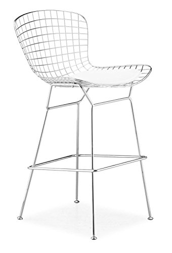 (Nicer Furniture set of 1-Harry Bertoia Chromed Steel Wire Frame Bar Height Barstool with Leatherette PU Pad)