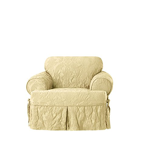 Sure Fit Matelasse Damask One Piece Chair Slipcover - Tan ()