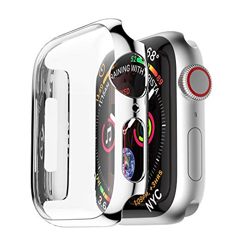 (Fullfun PC Cover Case for Apple Watch 4 40mm iWatch Series Watch Case Plating Full Frame Protective Case (Silver) )