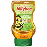Billy Bee Organic Pure Natural Honey, Unpasteurized Liquid White, Upside-Down Squeeze, 375 Gram