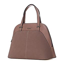 Kadell PU Leather Top Handle Satchel Handbags Shell Shape Color Stitching Purse Shoulder Bag Pink Camel